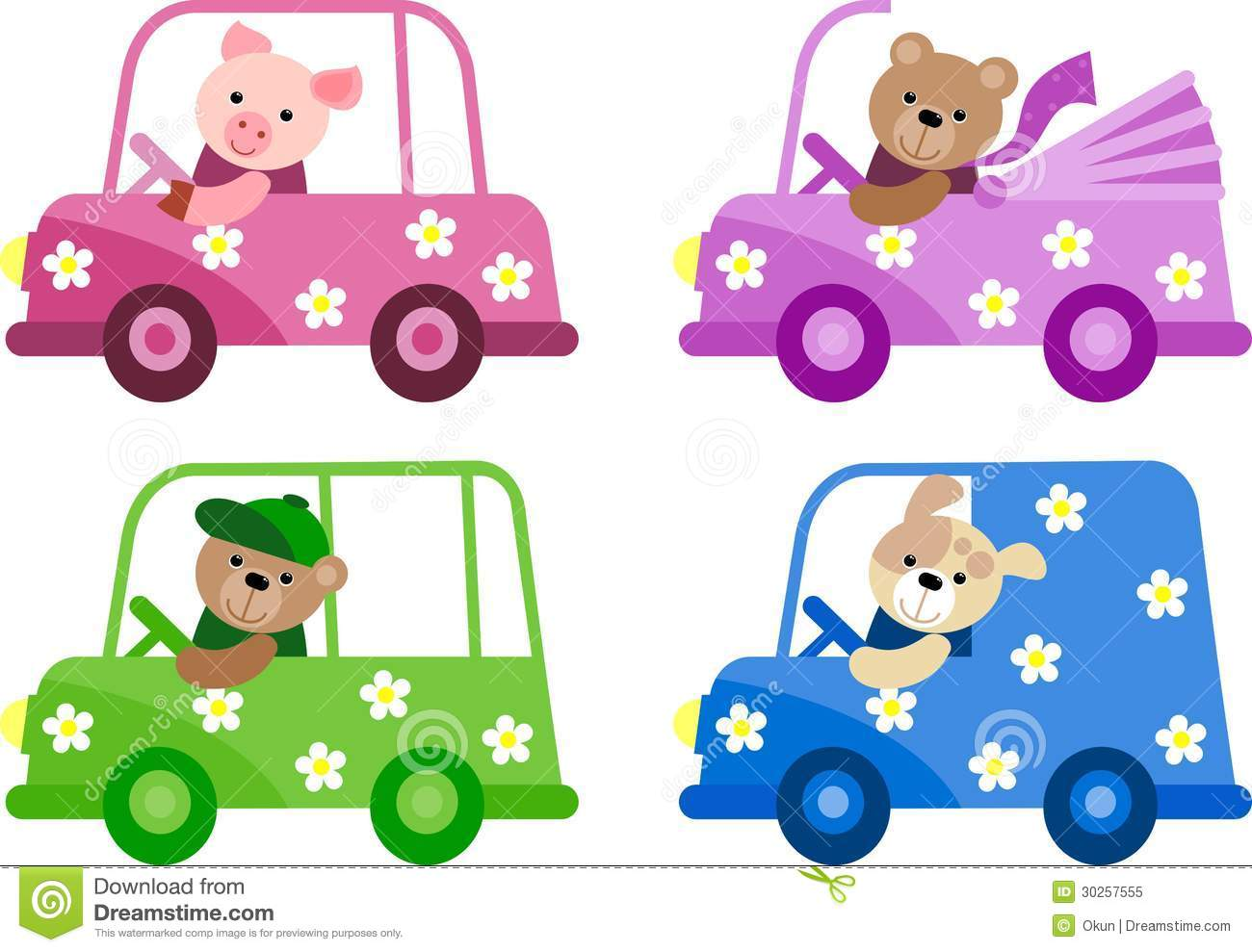 Funny Car Set Icons Illustration Stock Vector ...