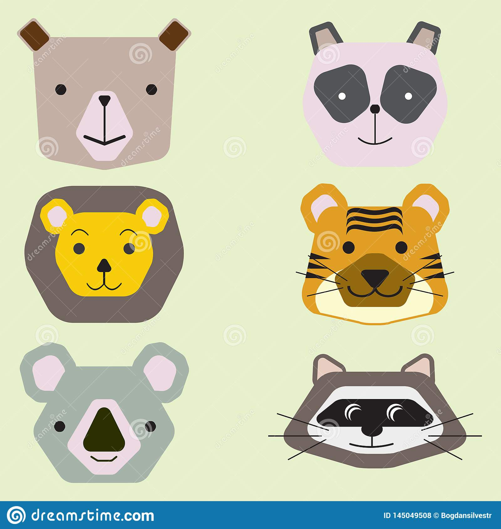 Vector collection of cute animal faces, icon set for baby design