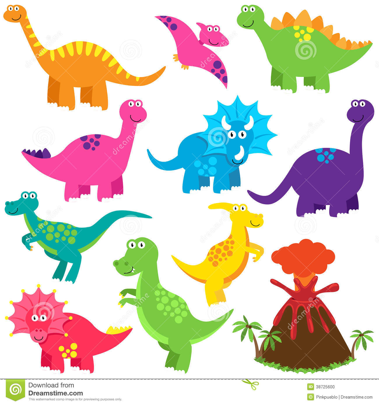 Image of: Isolated Vector Collection Of Cute Cartoon Dinosaurs Dreamstimecom Vector Collection Of Cute Cartoon Dinosaurs Stock Vector