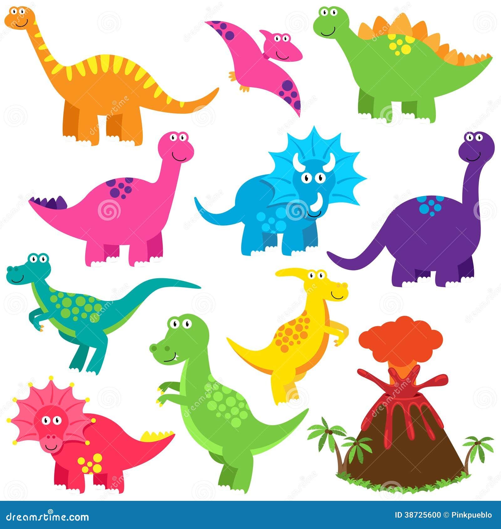 Vector Collection of Cute Cartoon Dinosaurs