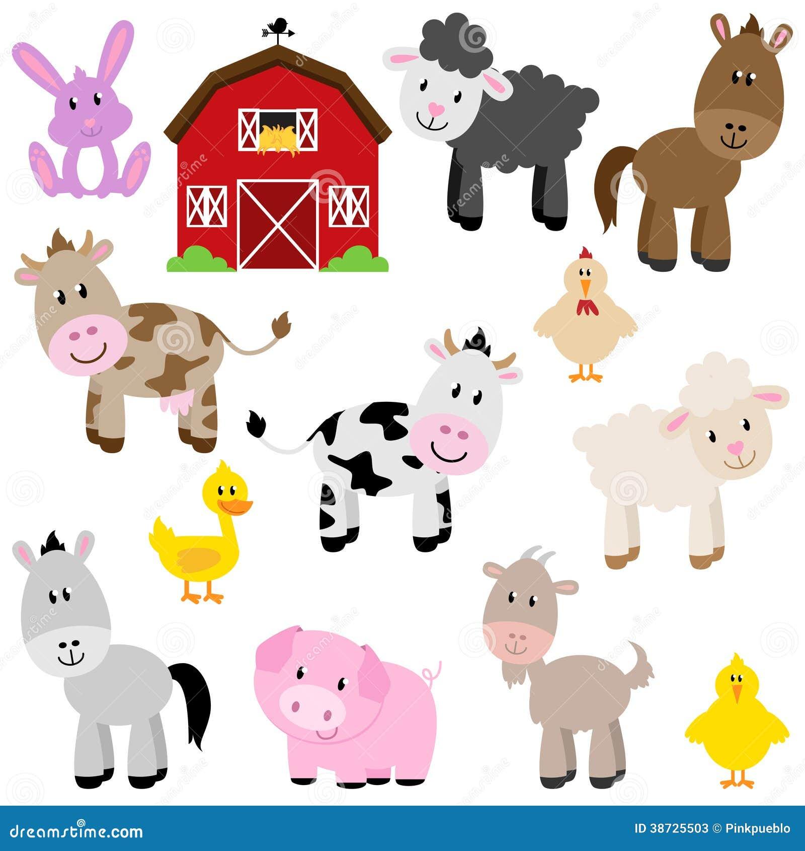 vector collection of cute cartoon farm animals stock photos