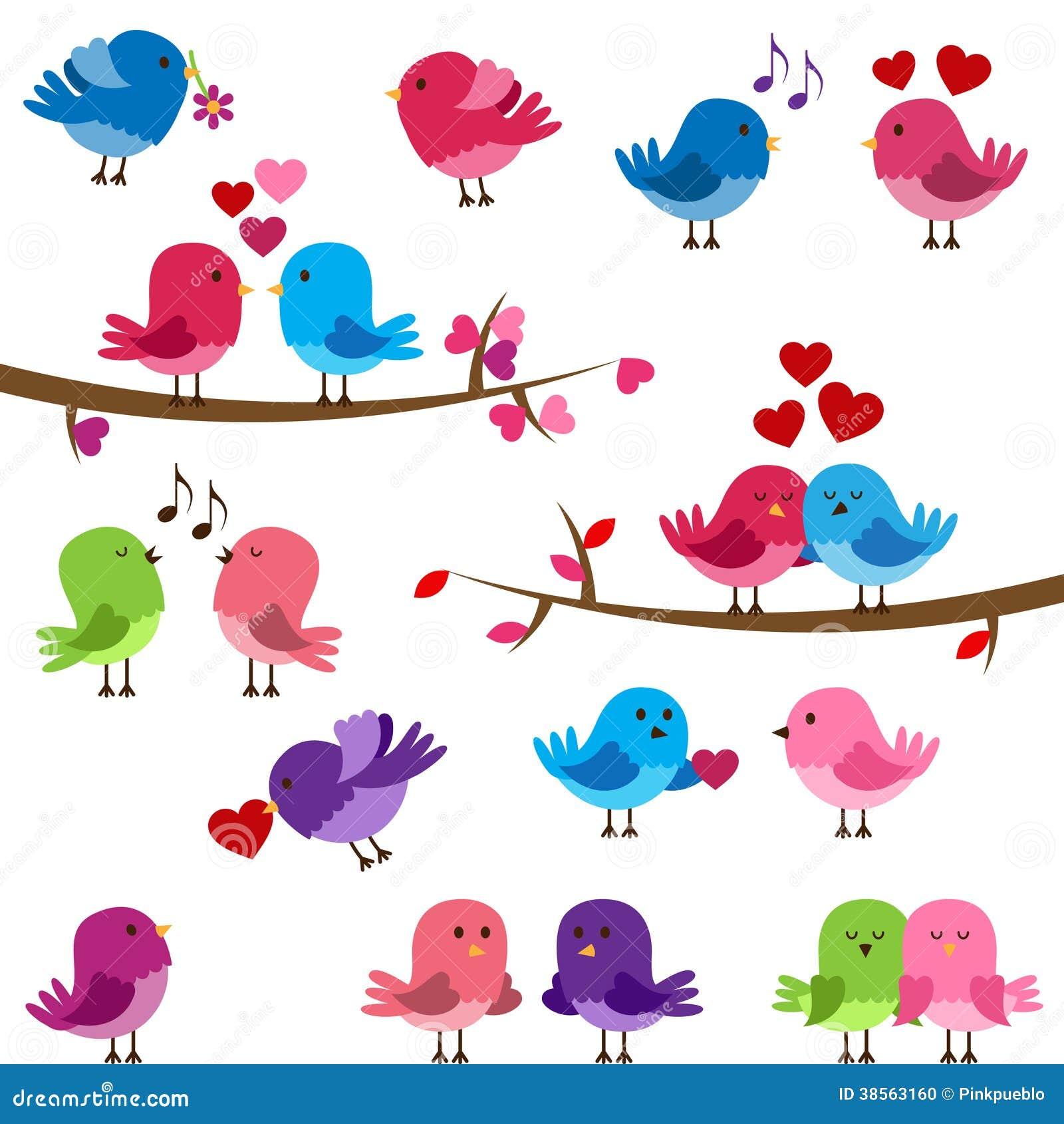 Vector Collection of Cute Love Birds