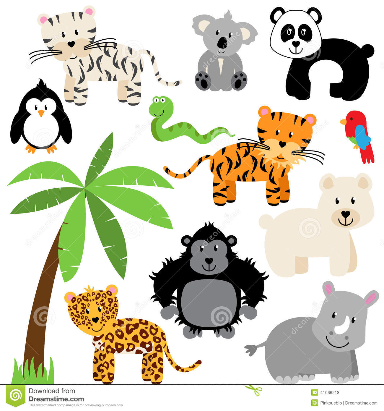vector collection of cute zoo jungle or wild animals stock vector