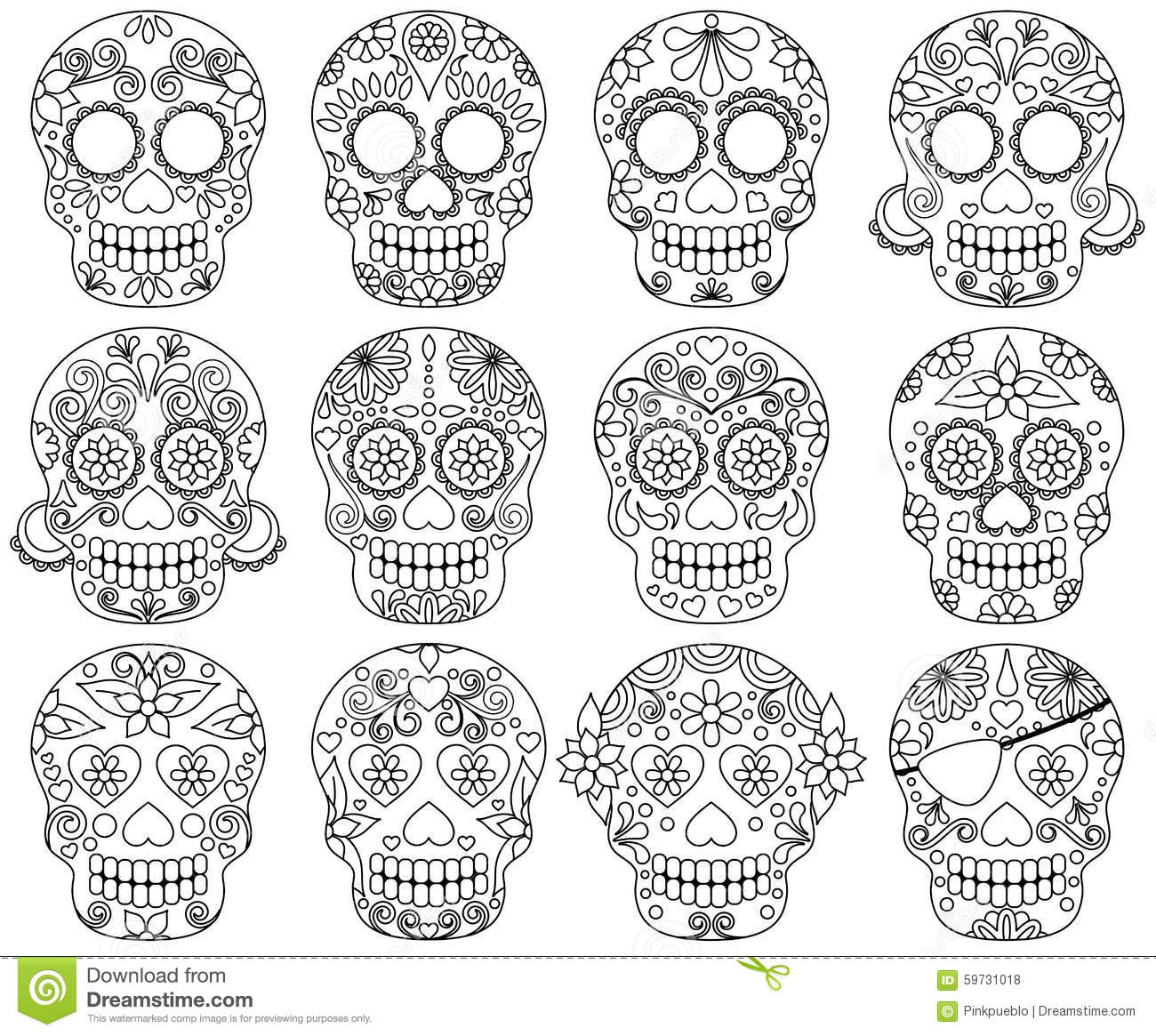 Vector Collection Of Doodle Day Of The Dead Skulls Stock