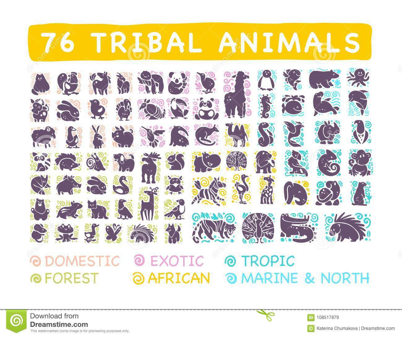 Vector collection of flat cute tribal animal icons with hand drawn ornament isolated on white background.