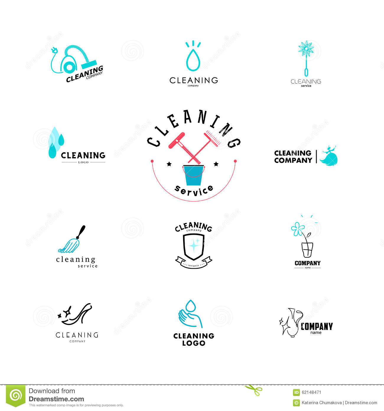 Vector Collection Of Flat Logo For Cleaning Company Stock