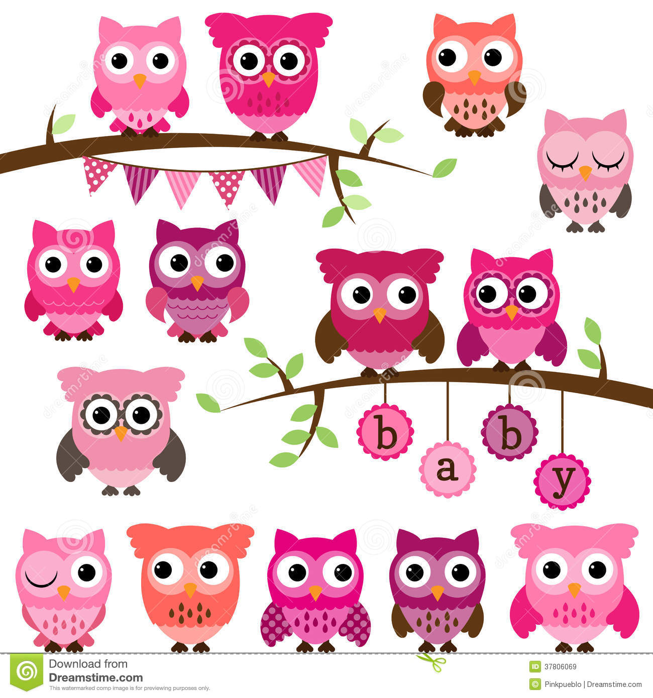 vector collection of girl baby shower themed owls stock Owl Office in a Tree 2016 Colorful Owl Clip Art