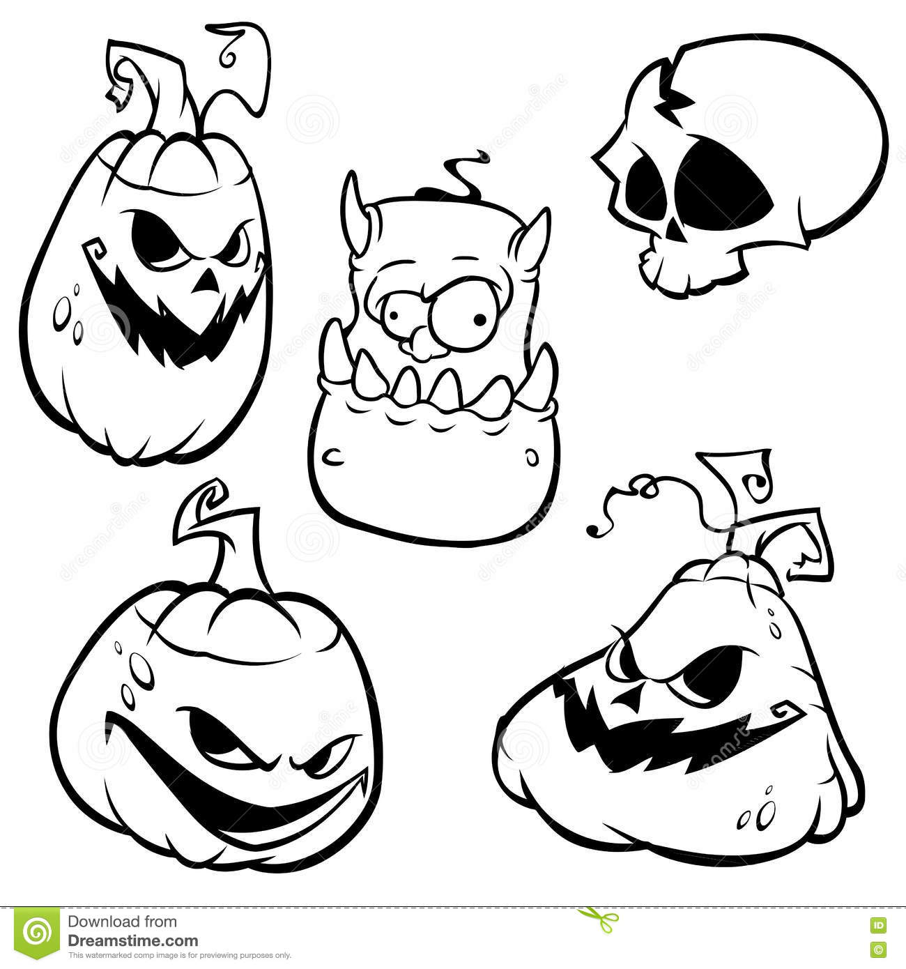 vector collection of halloween elements. stock vector - illustration
