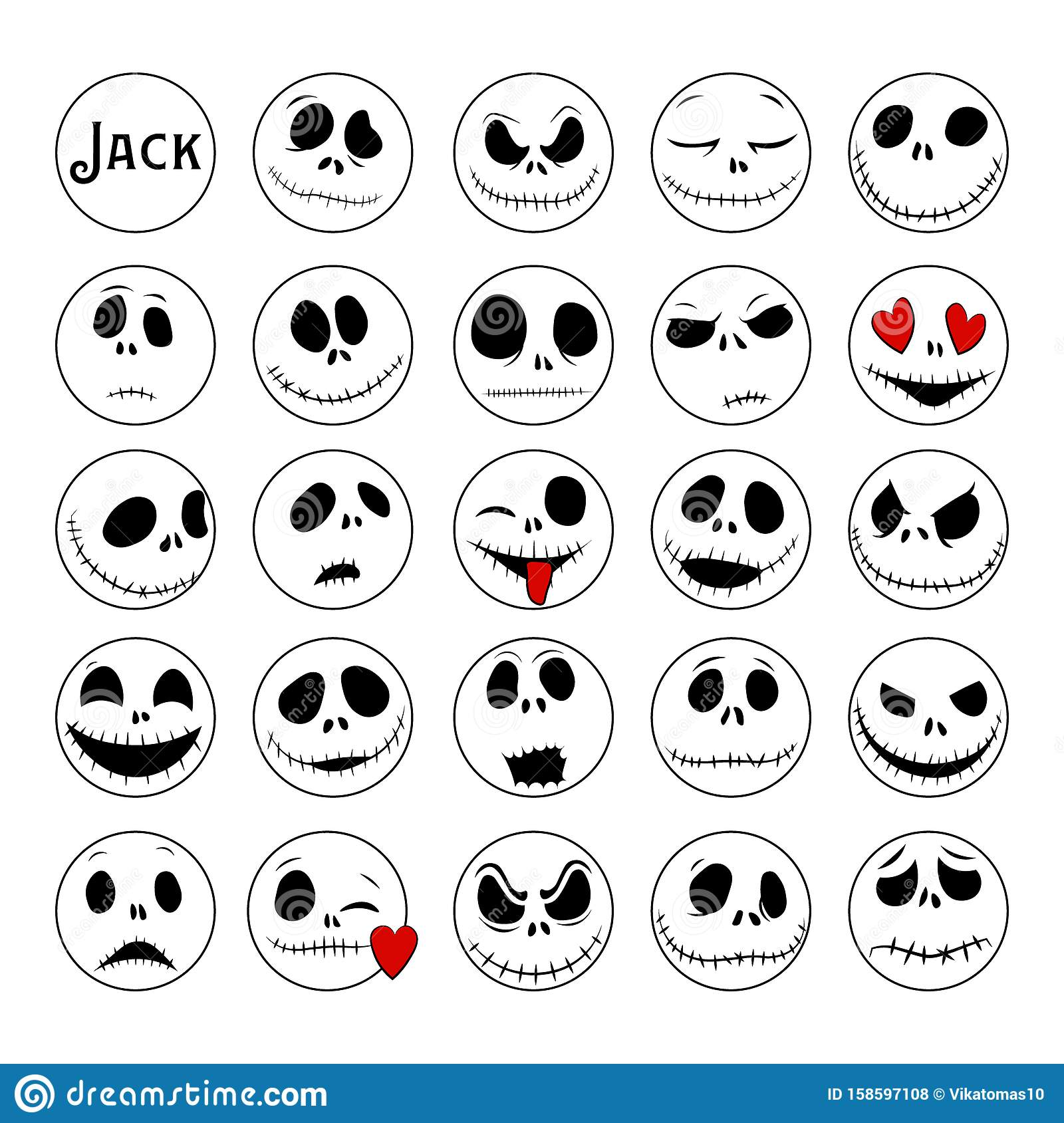 Vector Collection Of Halloween Faces The Nightmare Before Christmas Jack Skellington Halloween Jack Faces Silhouettes Stock Illustration Illustration Of Celebration Demon 158597108