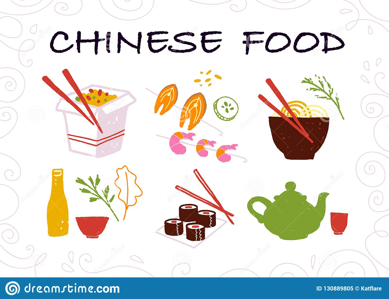 Vector Collection Of Hand Drawn Chinese Food Items Isolated On White Background Stock Vector Illustration Of Delicious Design 130889805