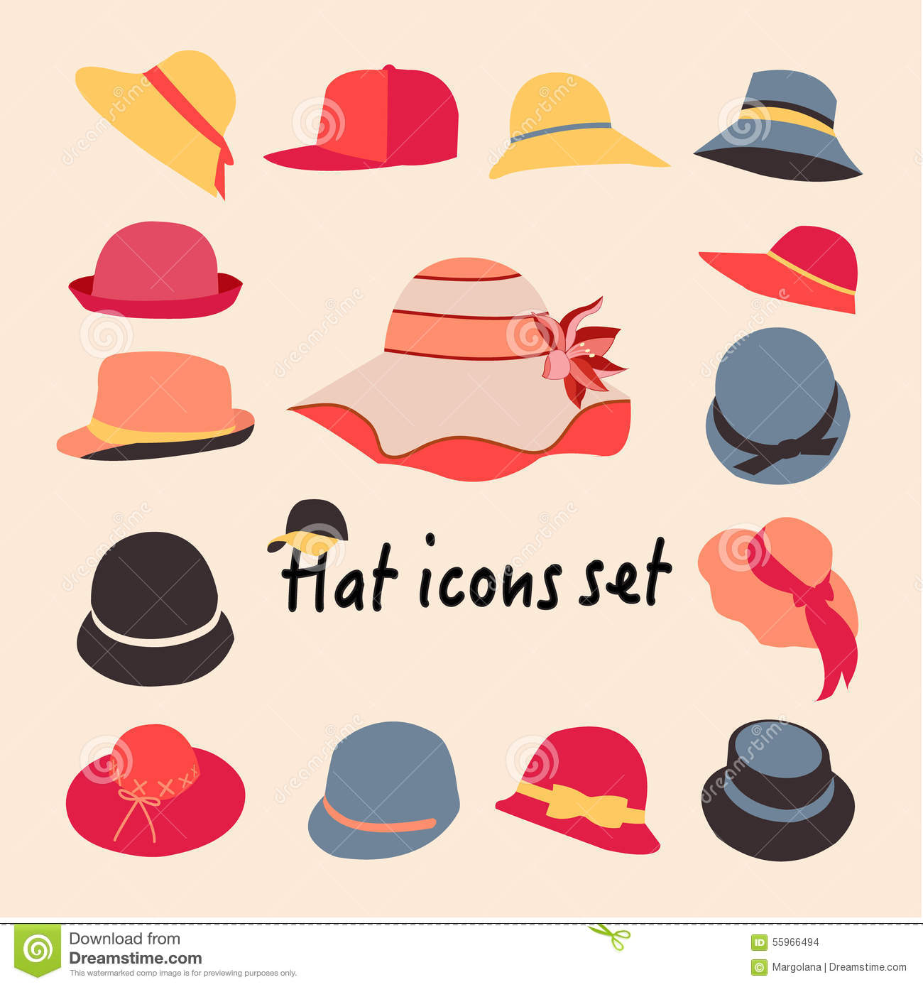 vector collection of hats for and stock