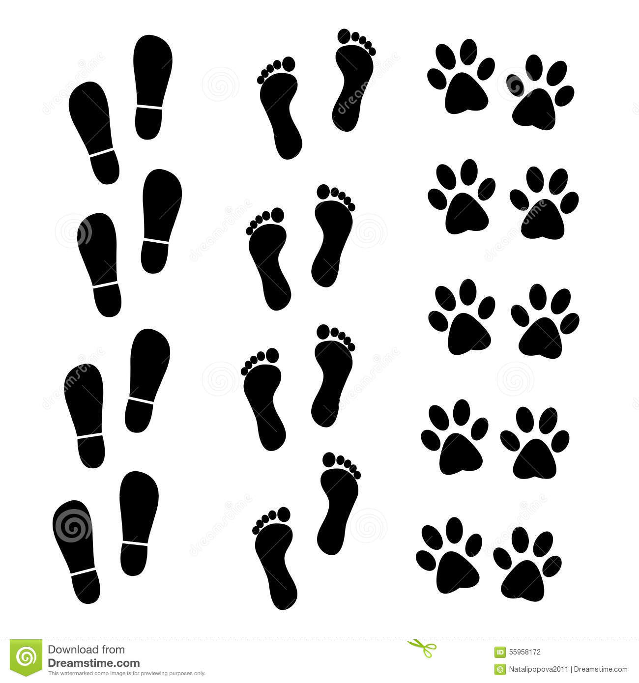 vector collection of human and animal trace stock vector