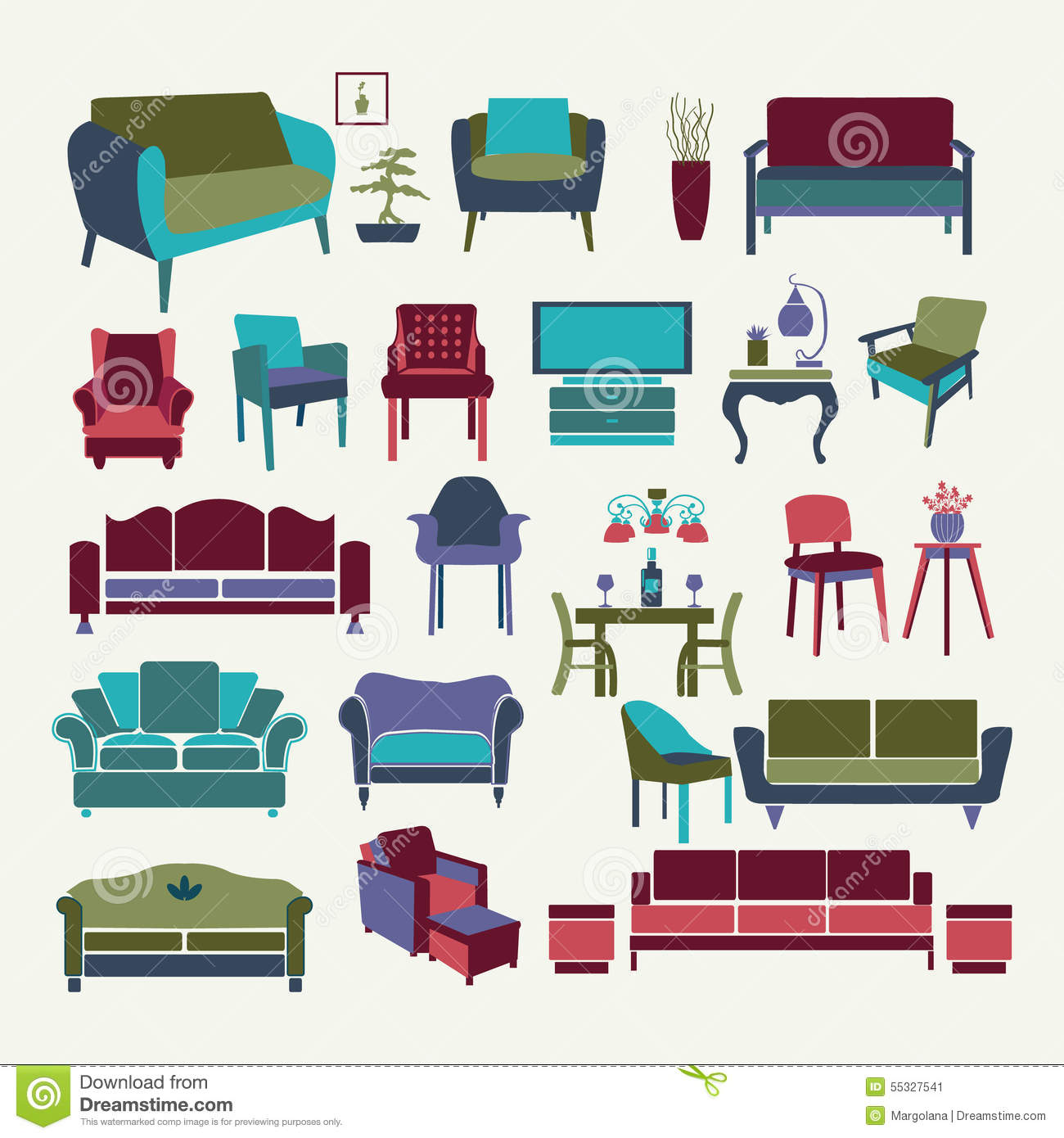 Vector Collection Of Icons Set Interior Design Elements Stock