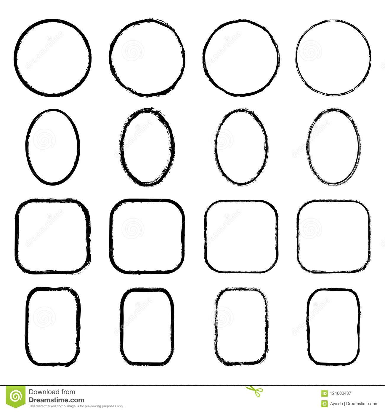 Vector Collection Of Ink Drawn Round Oval Square Rectangular