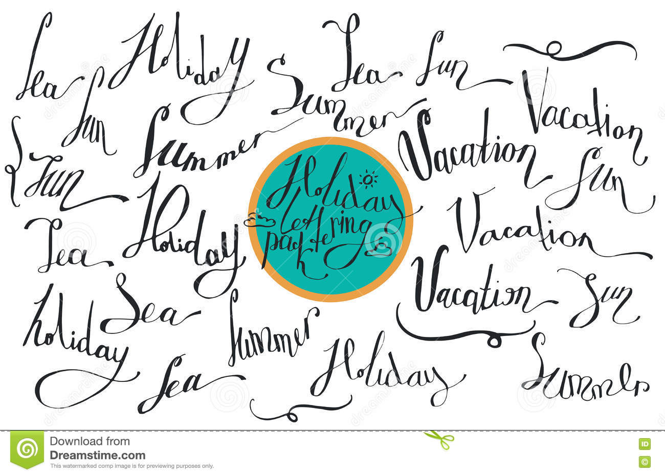Vector Collection Of Lettering, Dedicated To Summer Vacation