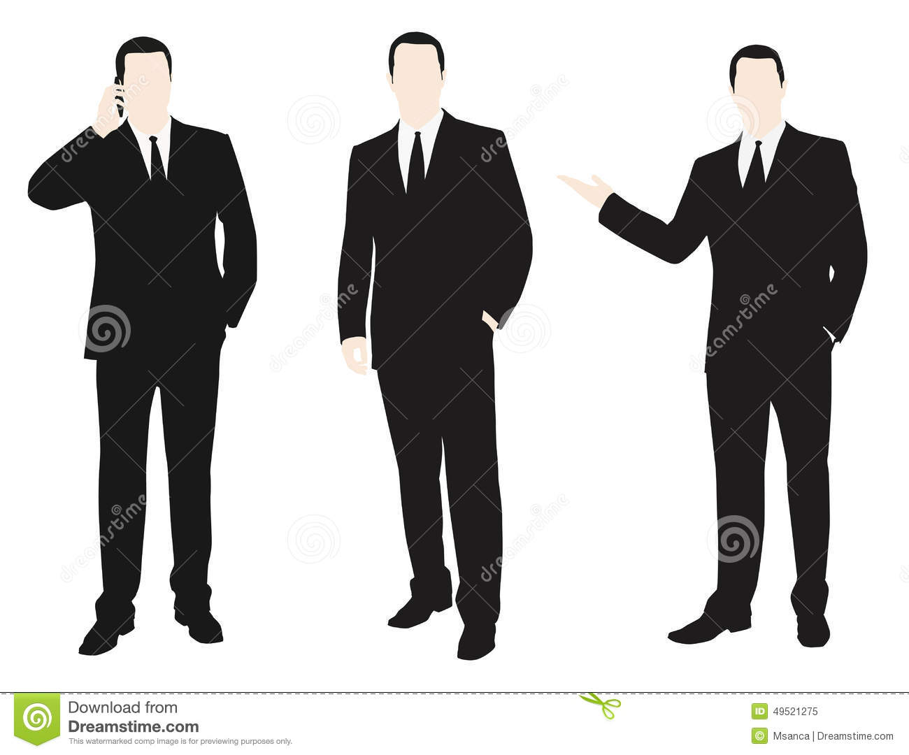 Vector Collection Of Men Dressed In A Suit. Stock Vector