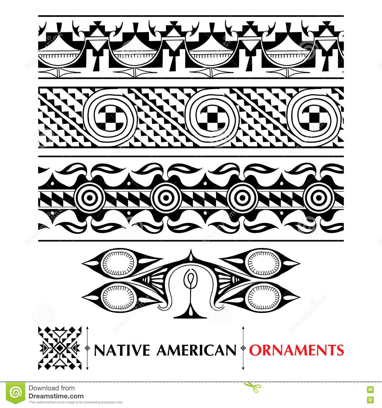 Native american ornaments - Vector Collection With Native American Seamless Pattern Isolated On White Background Ethnic Ornaments And Borders