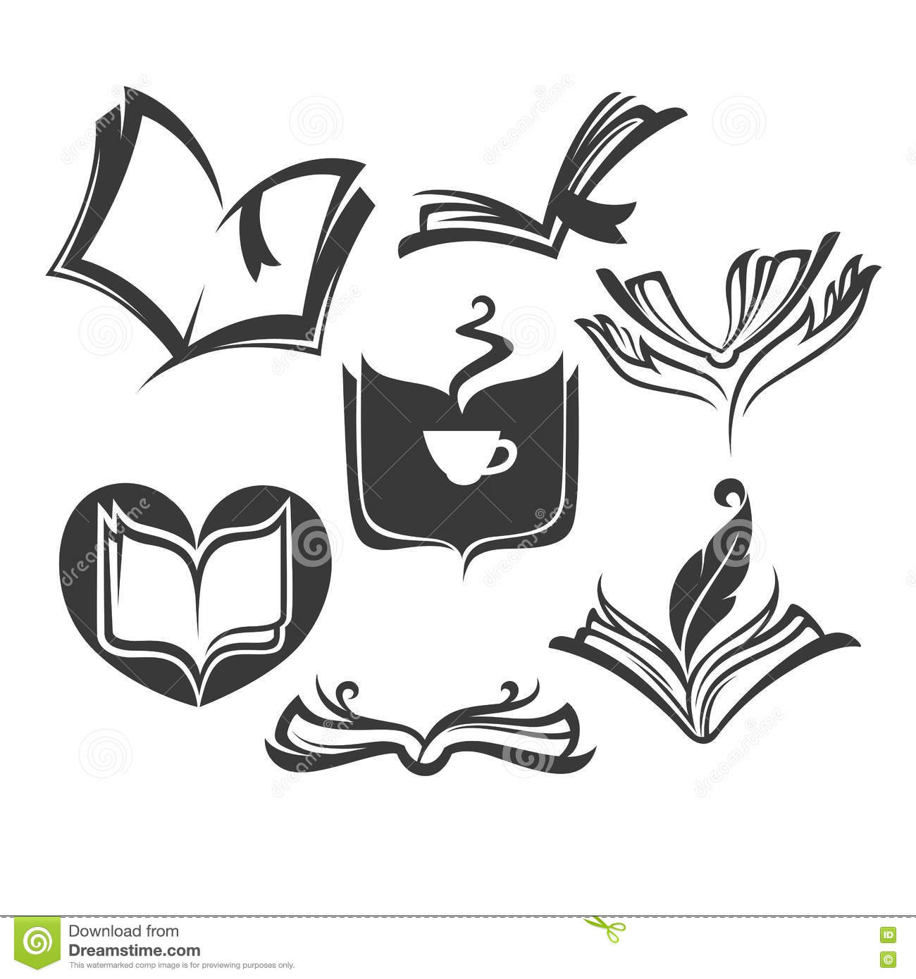 Vector Collection Of Old Books Reading And Writing Symbols Stock