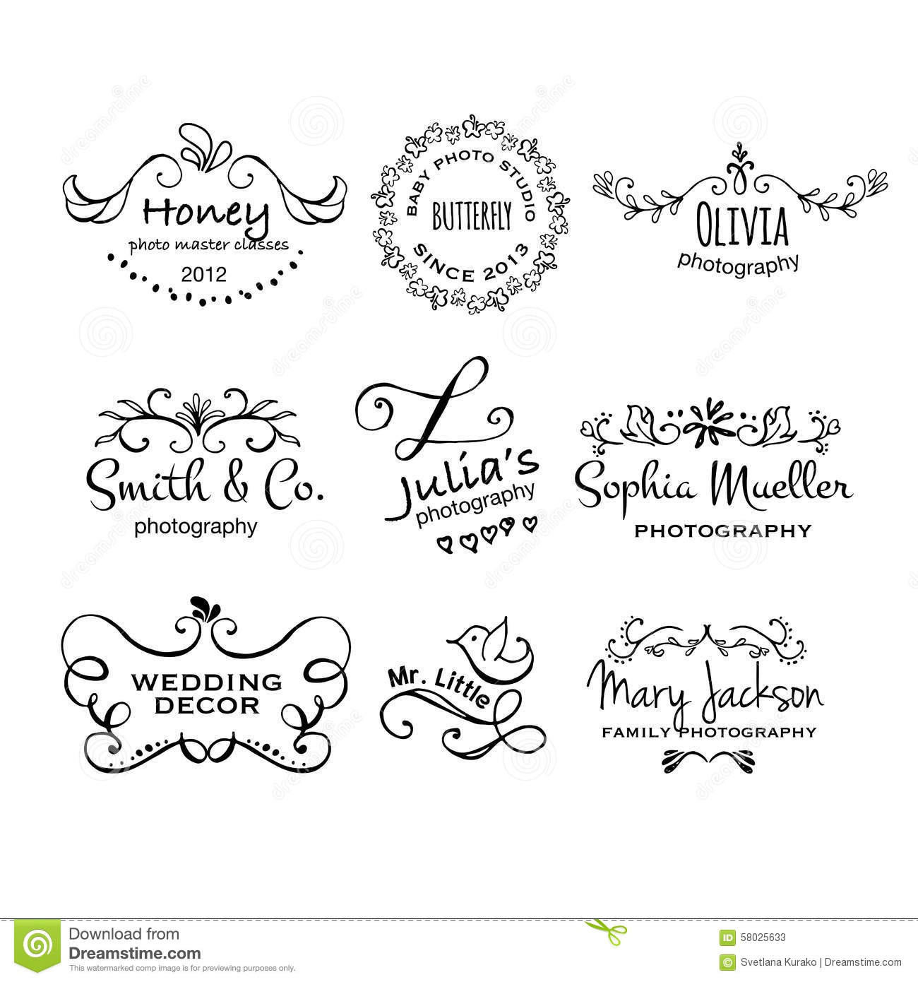 Vector collection of photography hand drawn logo templates