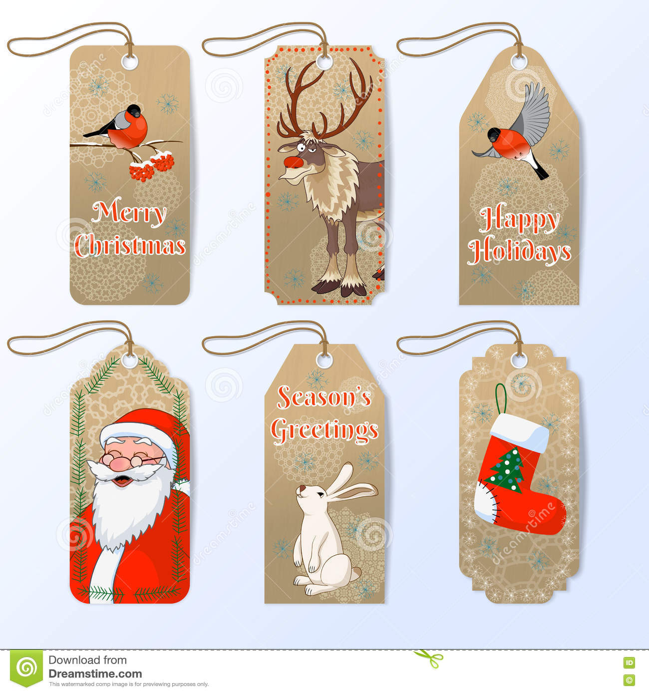 vector collection of six cute christmas gift tags with santa