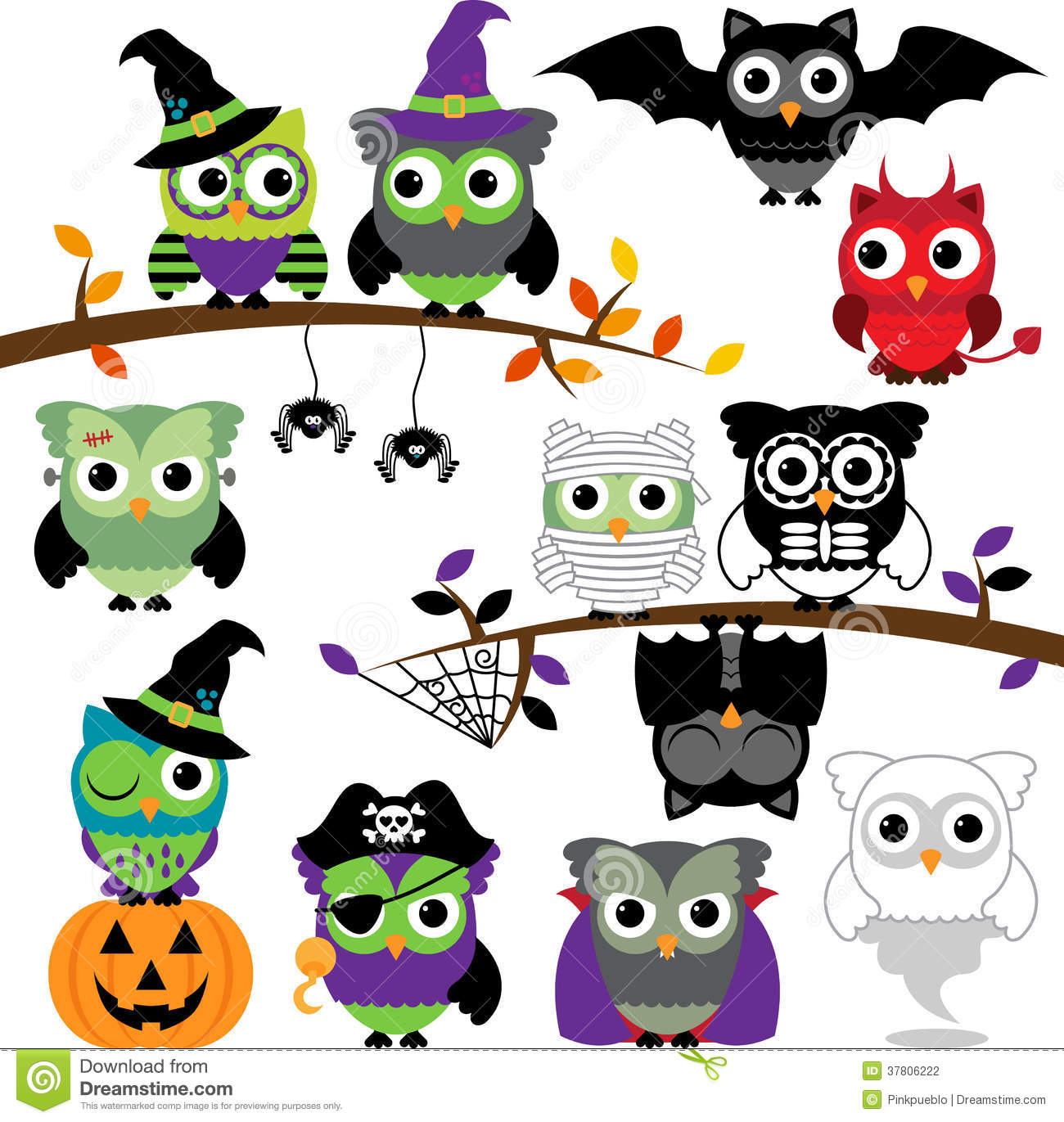 Vector Collection Of Spooky Halloween Owls Stock