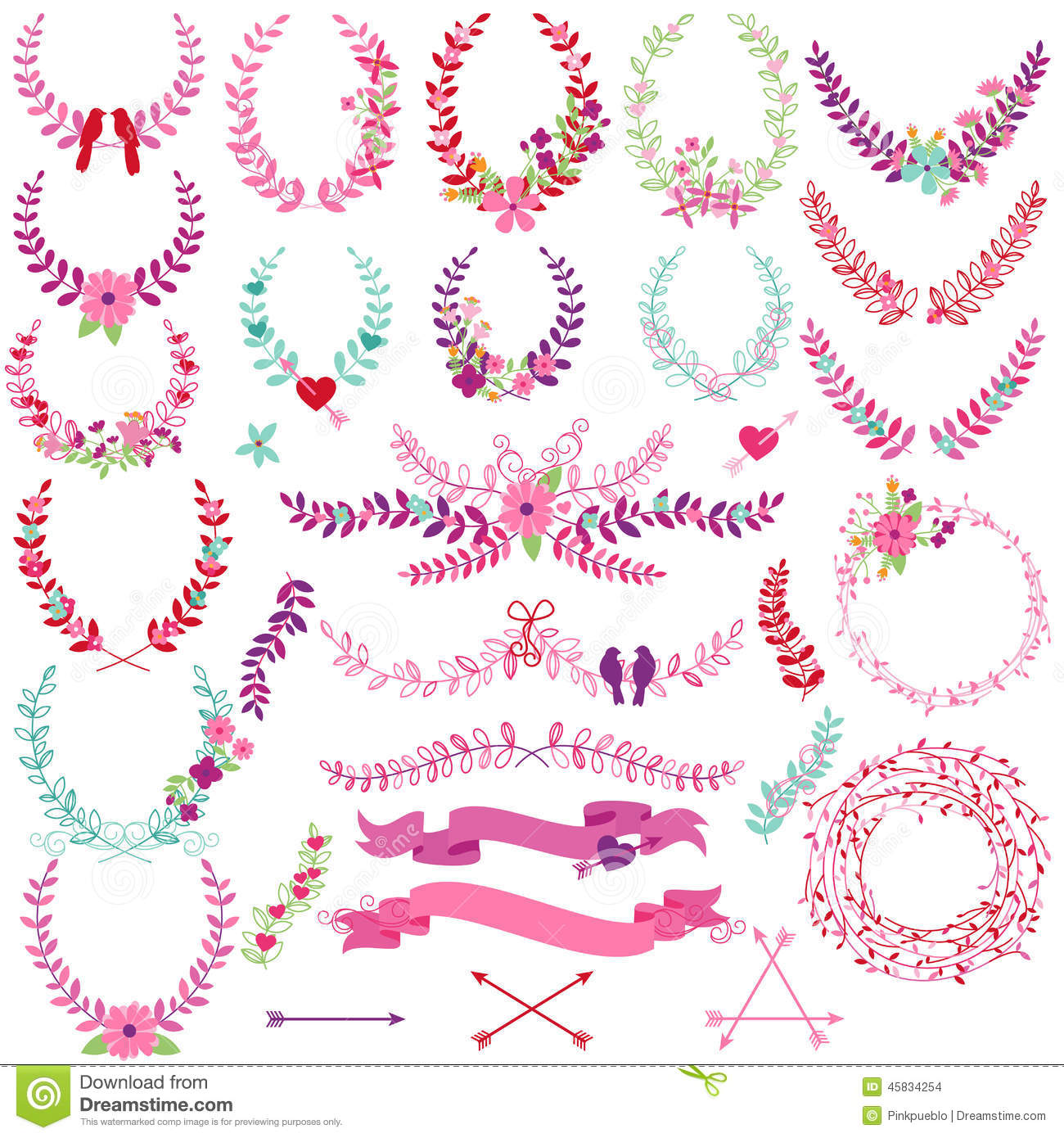 Vector Collection Of Valentine\'s Day Or Wedding Themed Laurels Stock ...