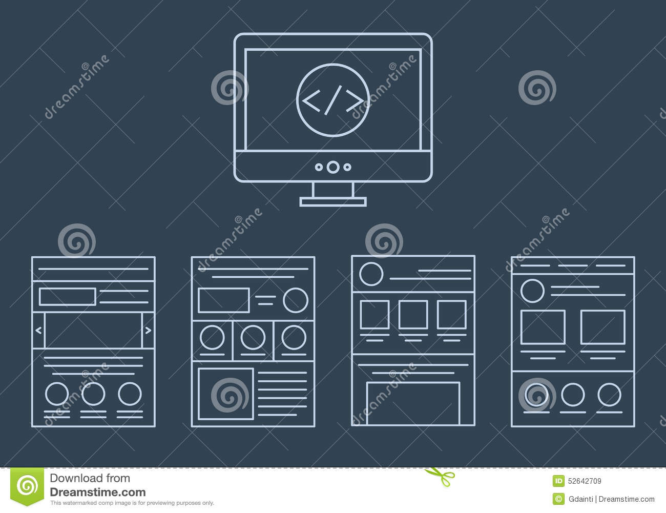 Line Drawing In Html : Vector collection of web development icons html stock