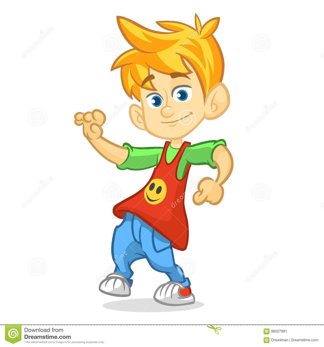 Vector Color Cartoon Image Of A Cute Teenage Blond Boy In Fashion