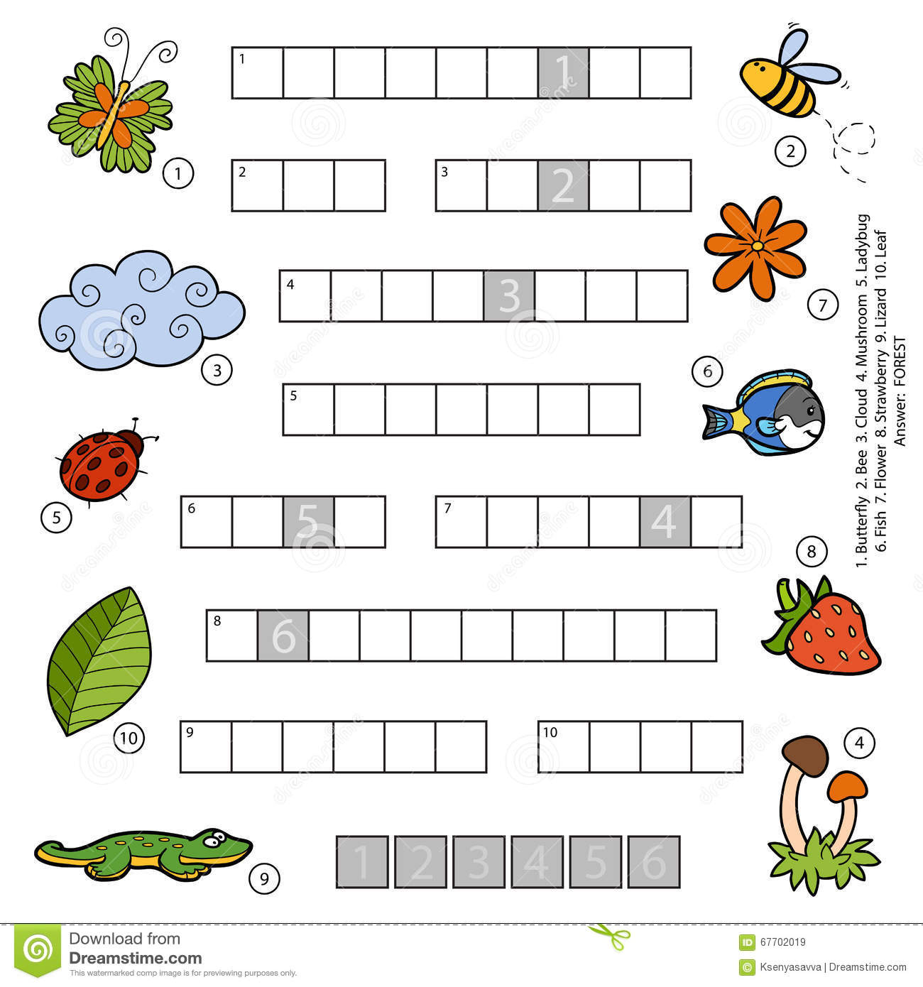 Game with shapes of different colors crossword - Vector Color Crossword For Children About Nature Royalty Free Stock Images