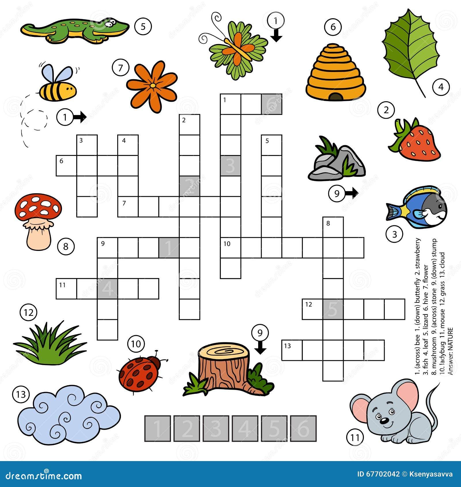 vector color crossword for children about nature stock vector illustration of colorful leaf. Black Bedroom Furniture Sets. Home Design Ideas