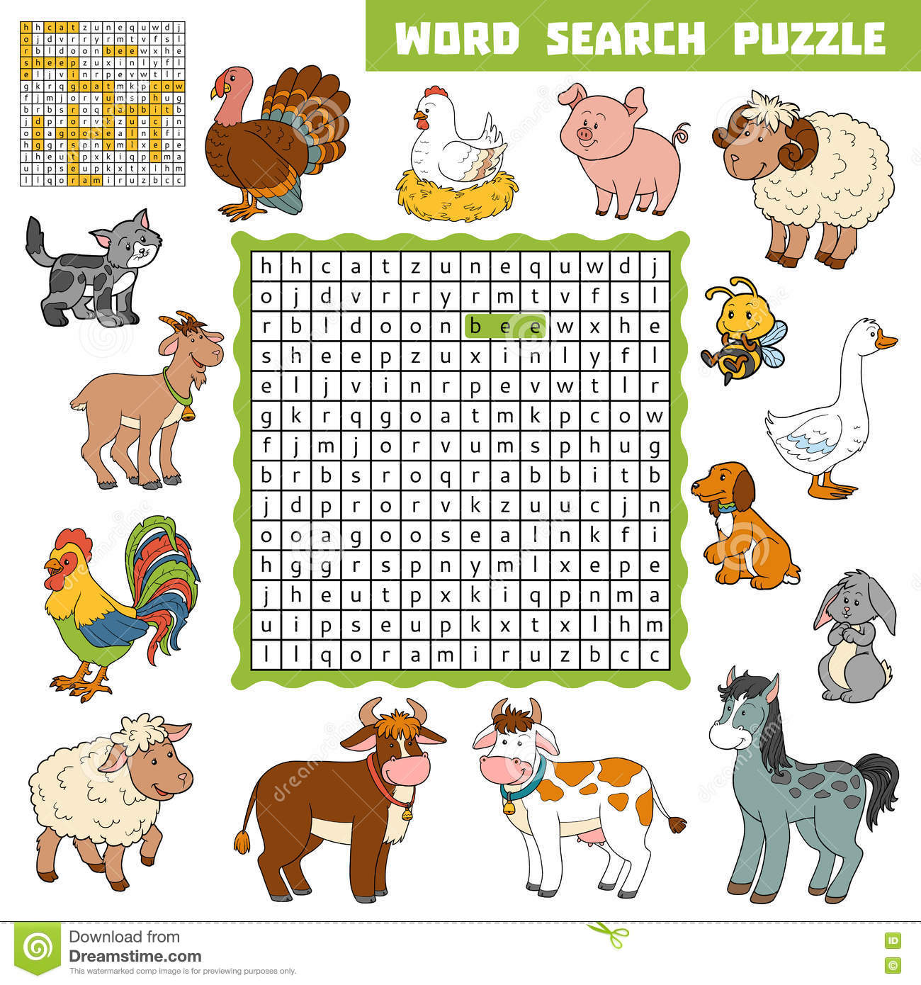 Vector Color Crossword About Farm Animals. Word Search