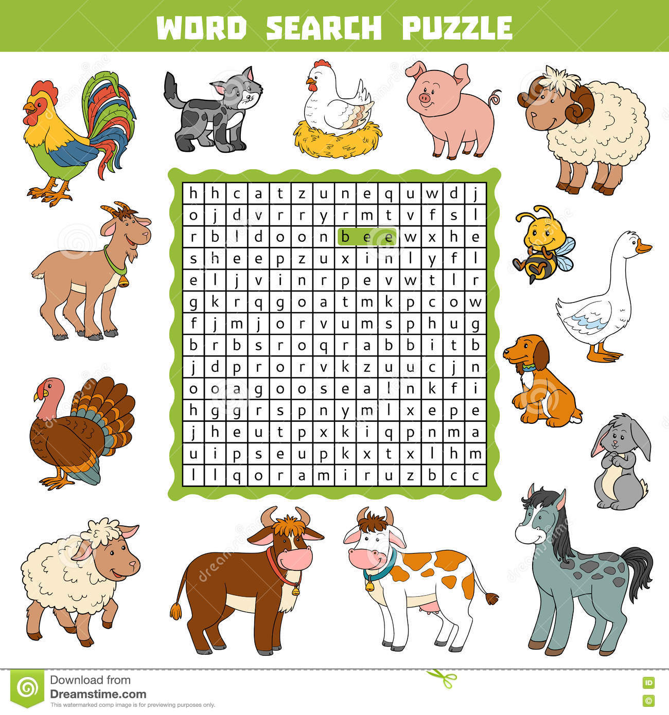Game with shapes of different colors crossword - Vector Color Crossword About Farm Animals Word Search Puzzle Royalty Free Stock Photo