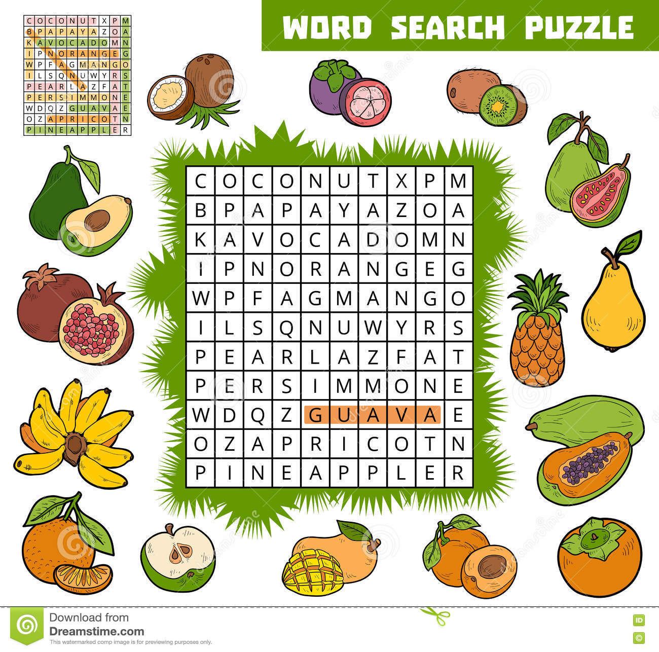 Vector Color Crossword About Fruits. Word Search Puzzle Stock Vector ...