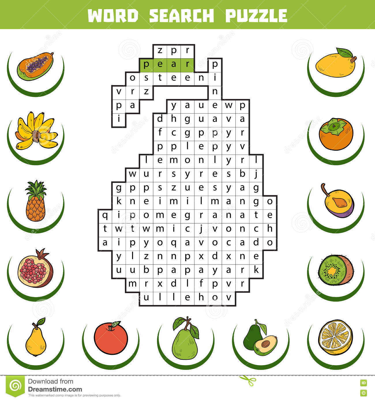 Vector Color Crossword About Fruits. Word Search Puzzle ...