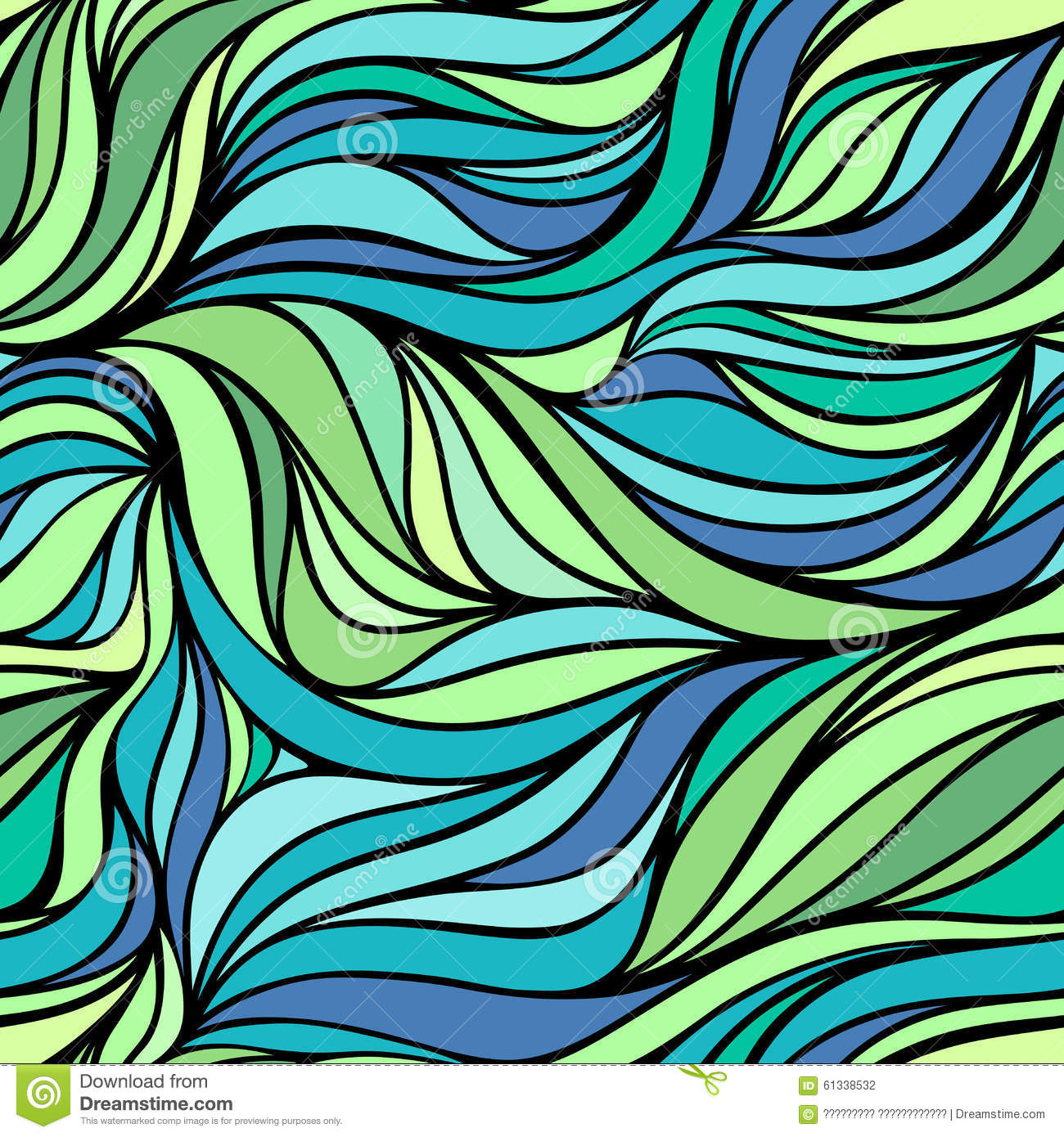 Vector Color Hand-drawing Wave Sea Background. Blue