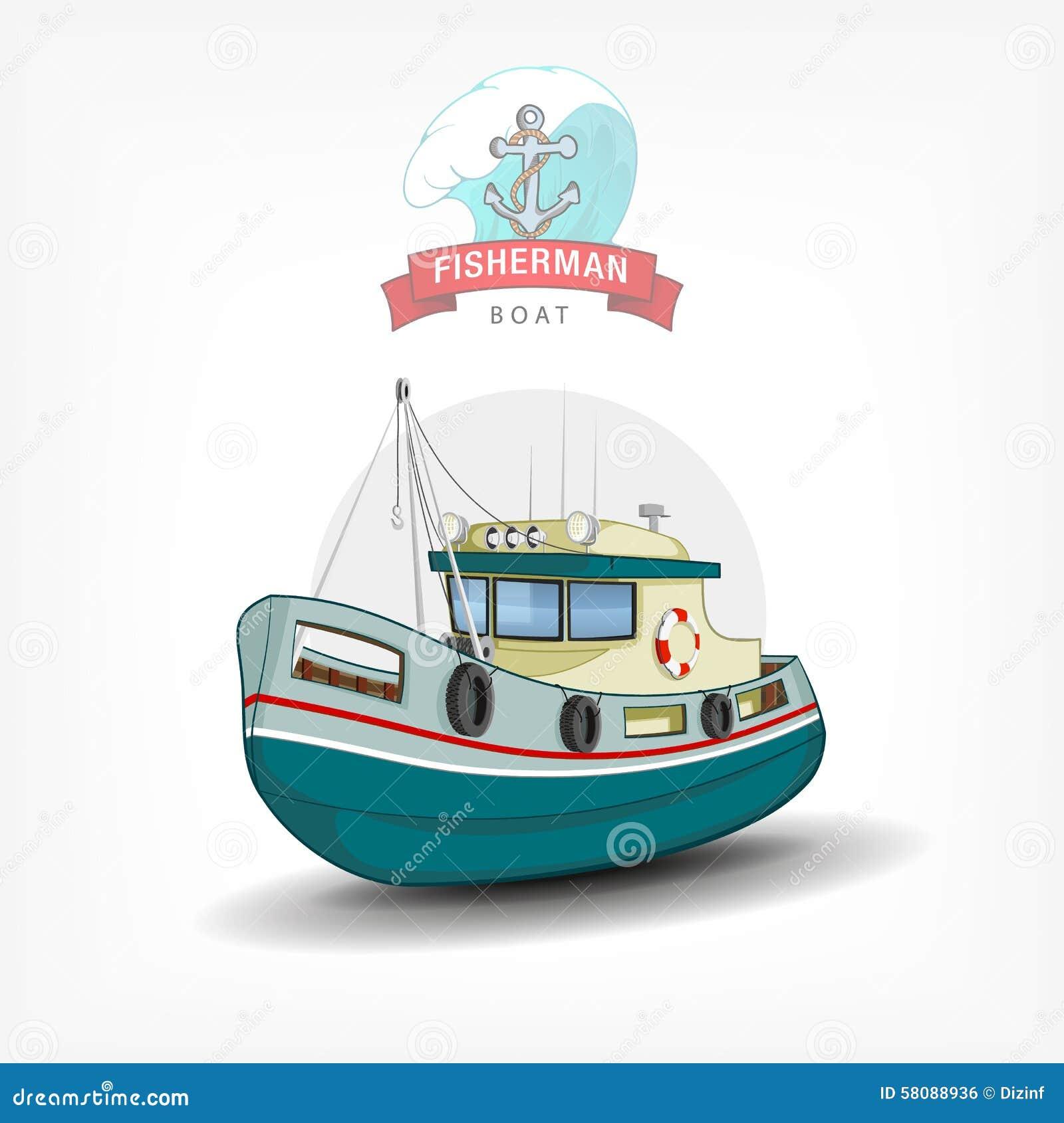 vector color handdrawn illustration of a fishing boat. Black Bedroom Furniture Sets. Home Design Ideas