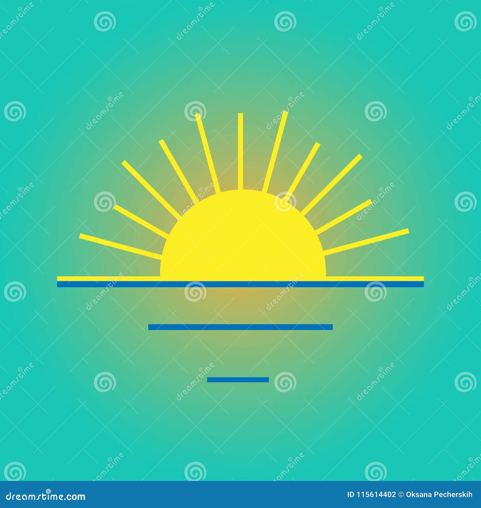 Vector Color Icon Sunset, Sunrise Symbol. Stock Vector ...