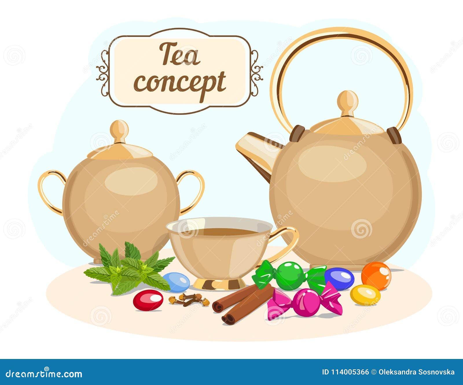 Tea Set Tea Pot Sugar Bowl Cup Tea Vector Illustration Stock