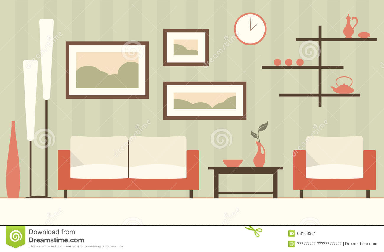 Of Cartoon Green Modern Living Room Stock Vector Image 68168361
