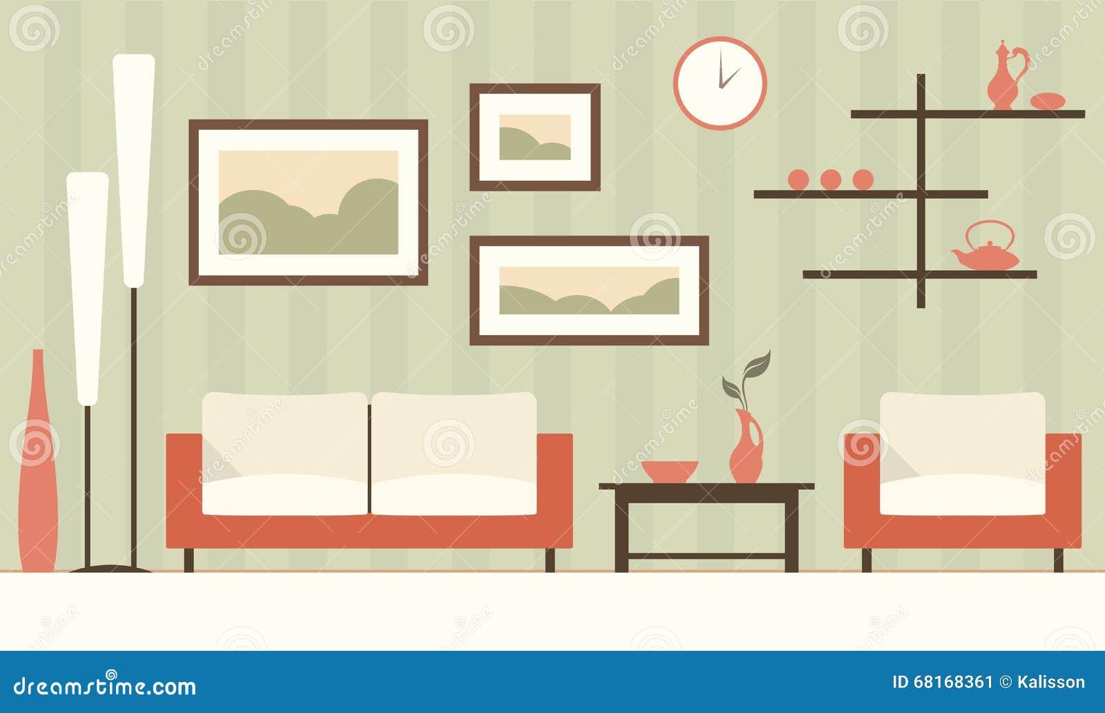 Vector Color Interior Of Cartoon Green Modern Living Room