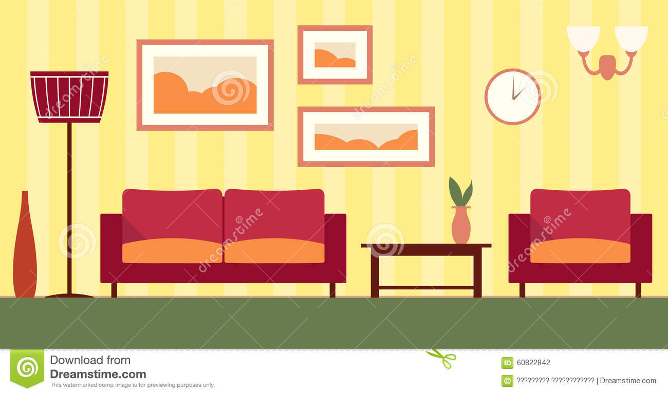 Vector color interior of cartoon living room stock vector for Living room interior in flat