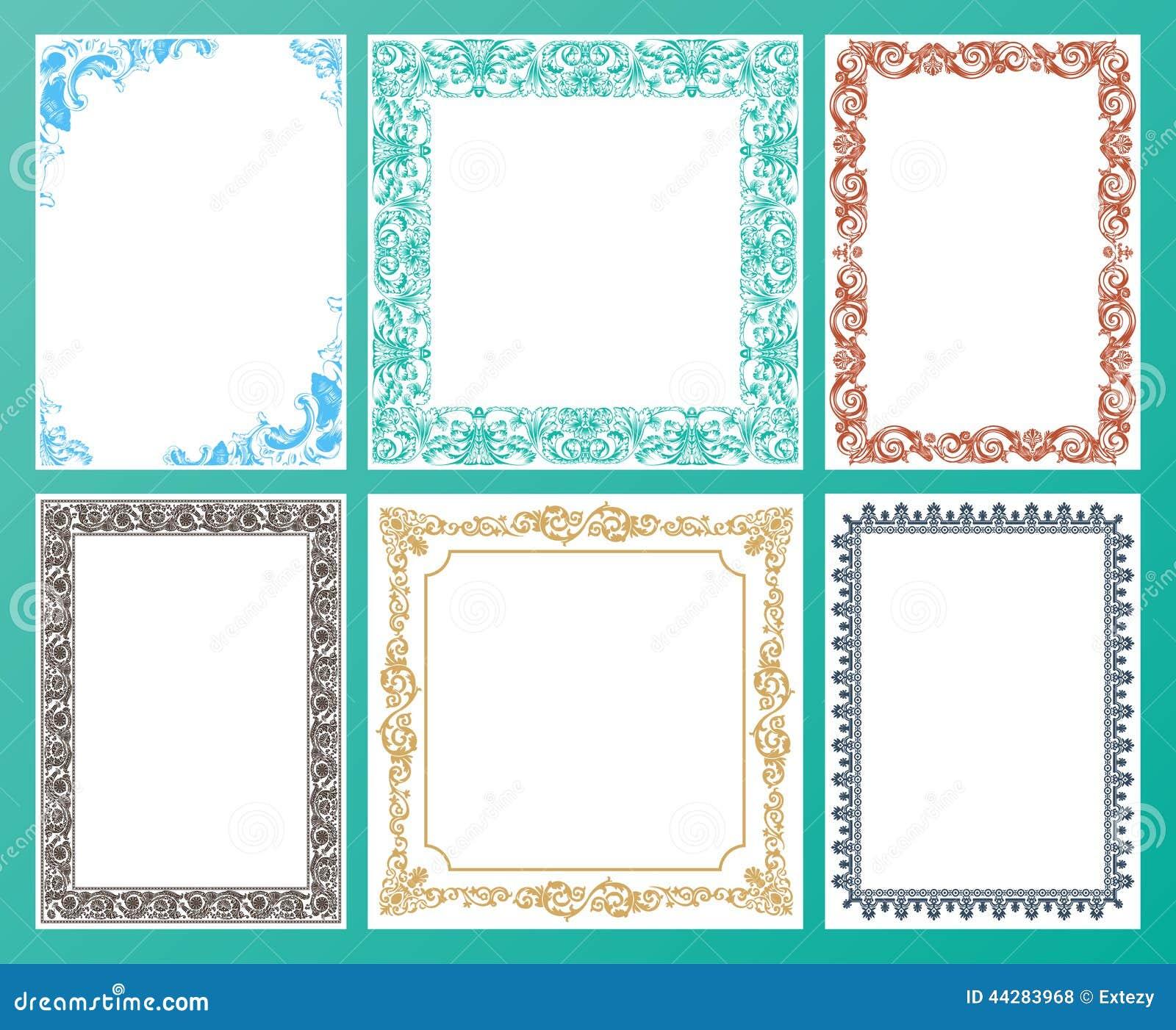 Vector Color Set. Ornate Frames And Vintage Scroll Elements Stock ...