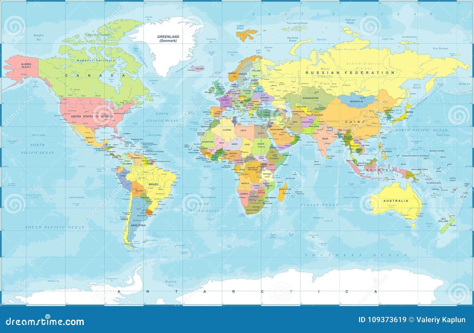 Vector coloreado político del mapa del mundo