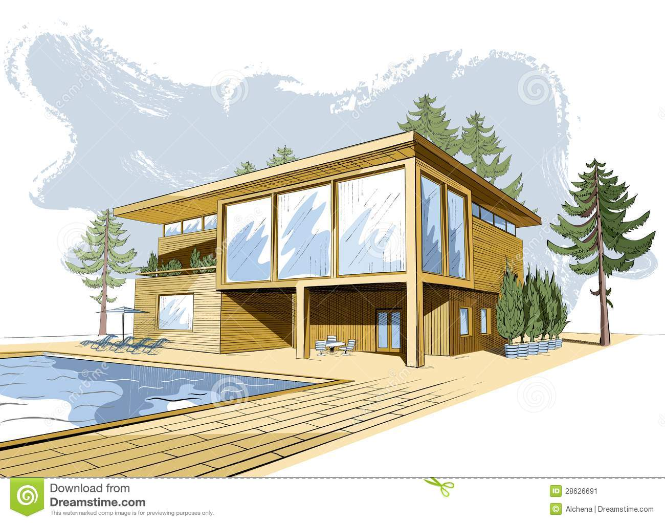 Vector colored background with modern wooden house stock for Croquis de casas