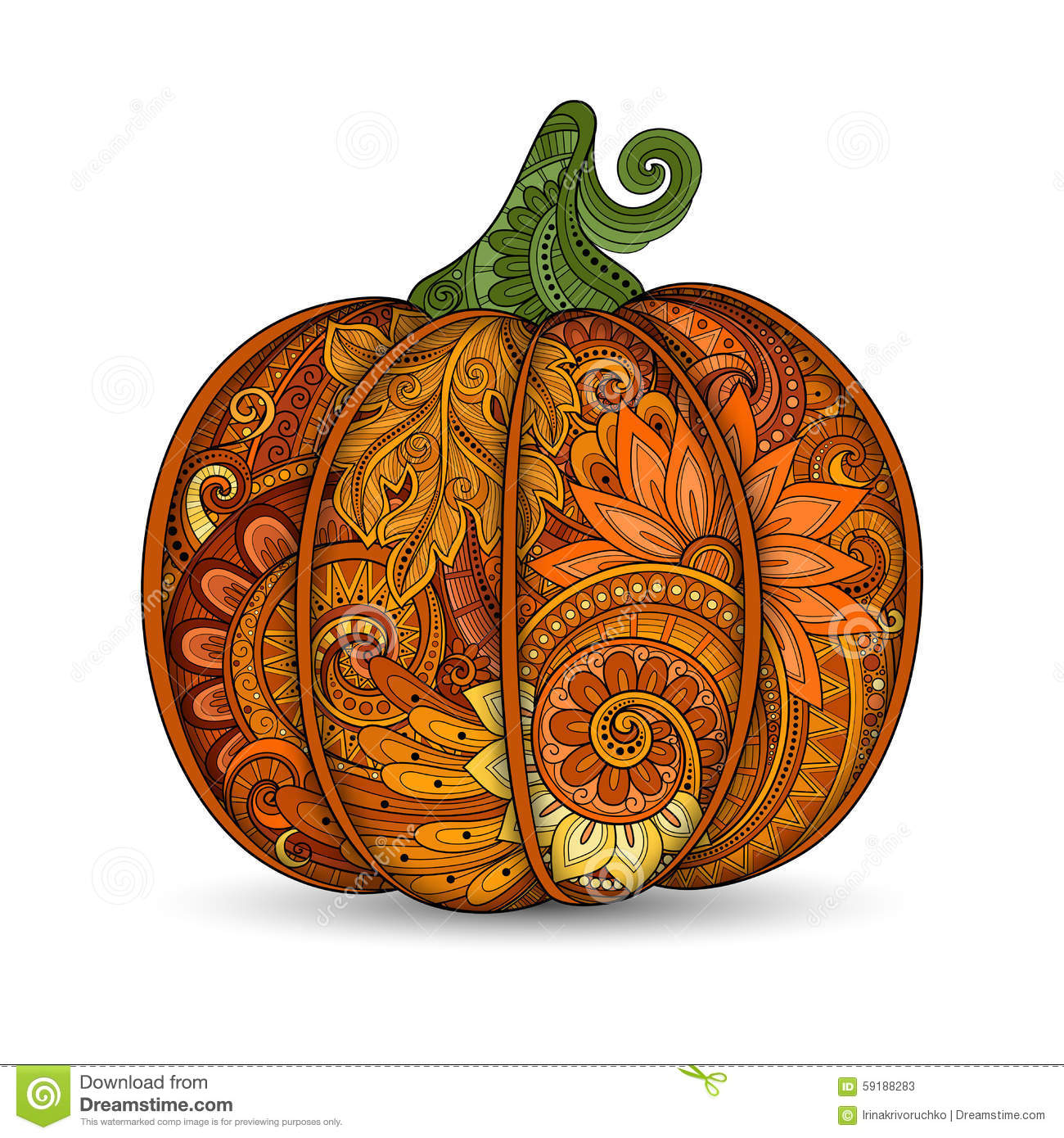 Vector Colored Decorative Pumpkin With Beautiful Pattern ...