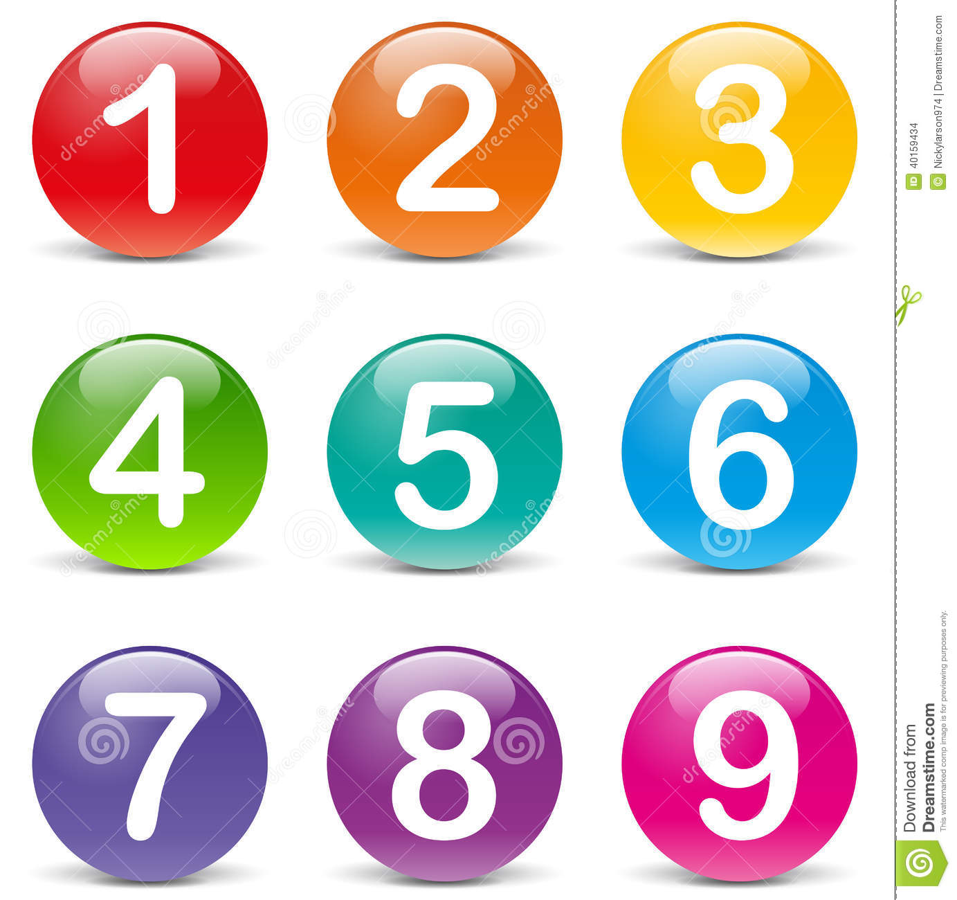 Vector Colored Numbers Icons Stock Vector