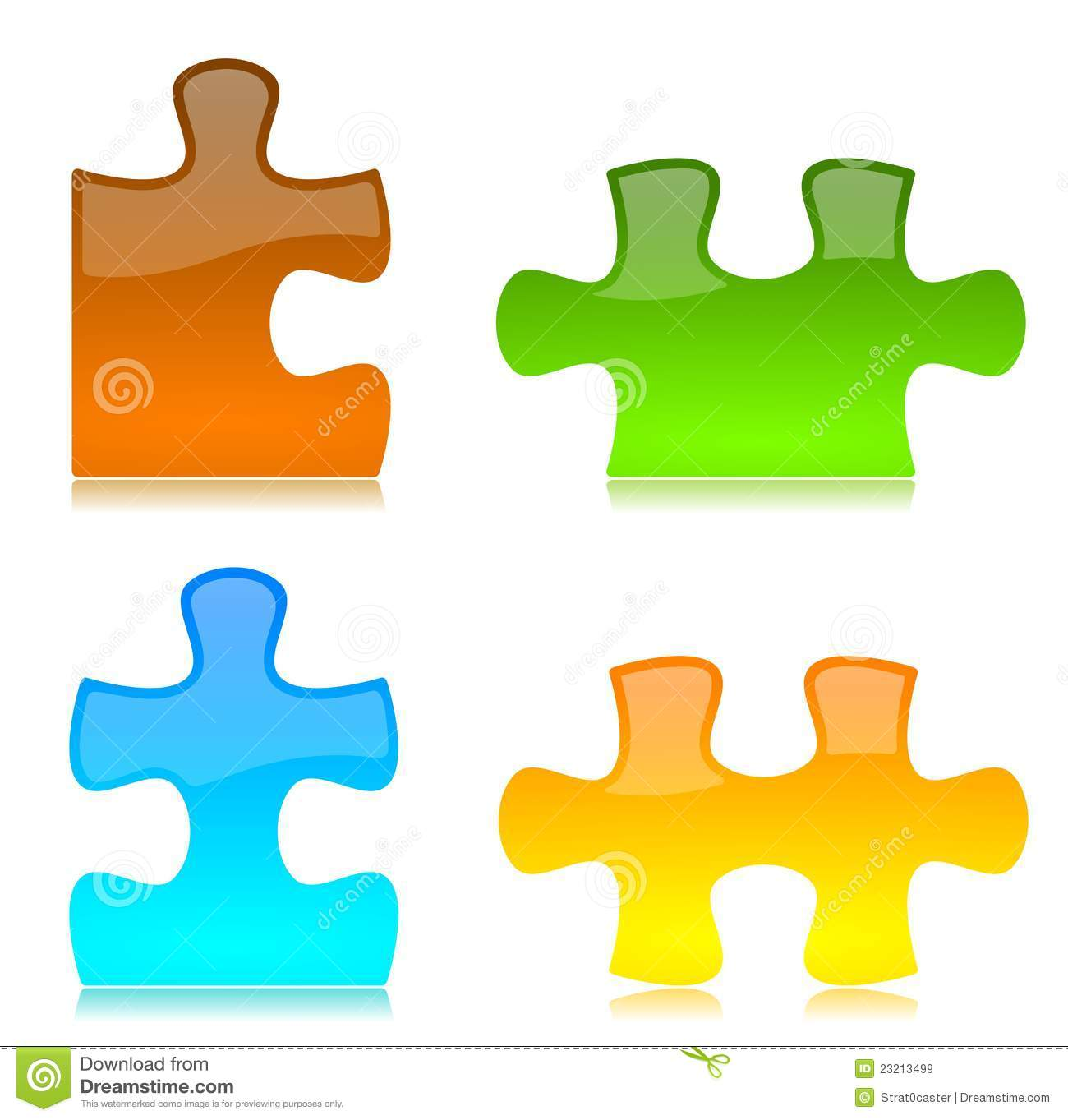 Vector Colored Puzzle Pieces Stock Vector