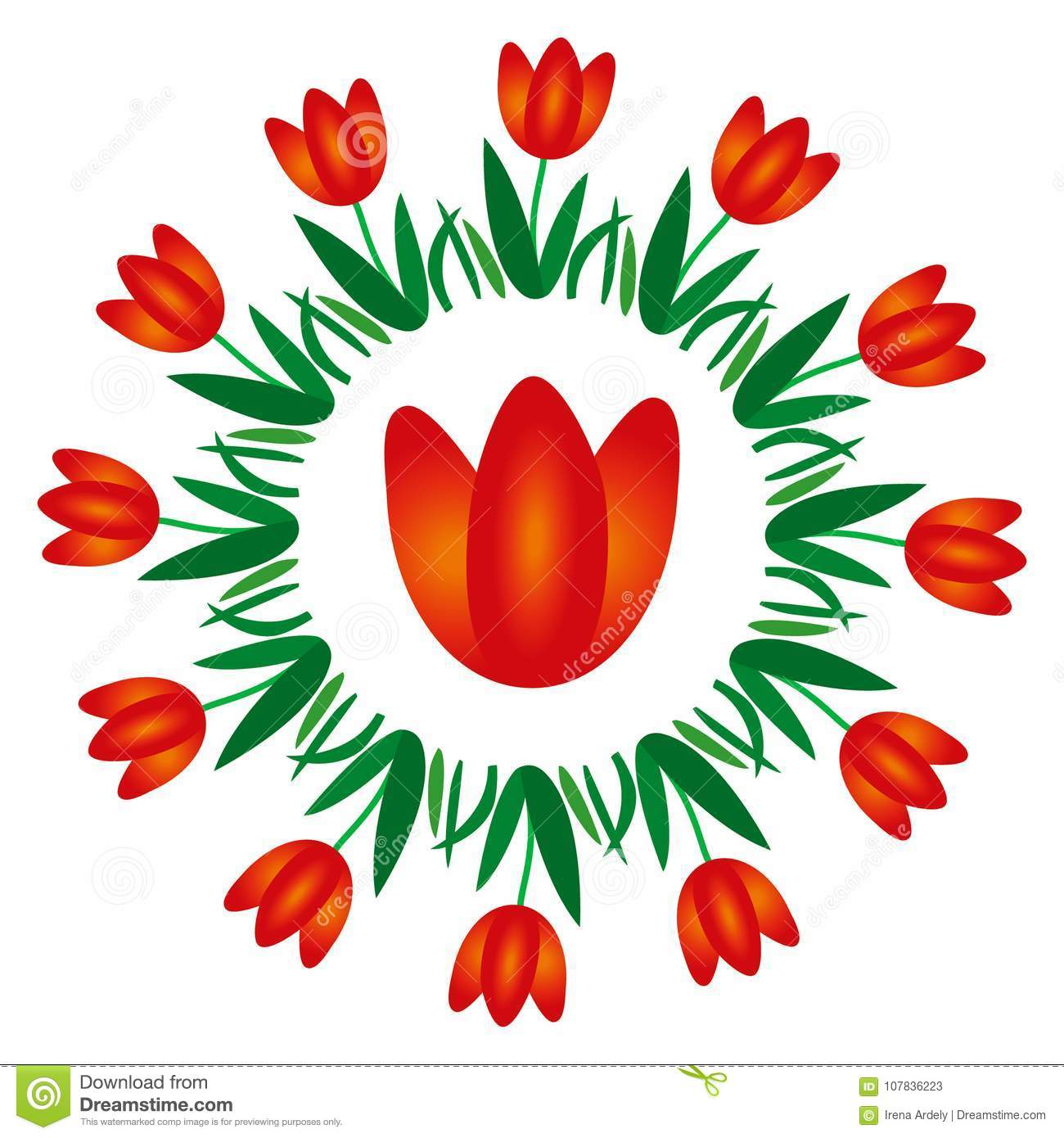 Vector Colored Round Spring Mandala With Flower Tulip - Adult ...