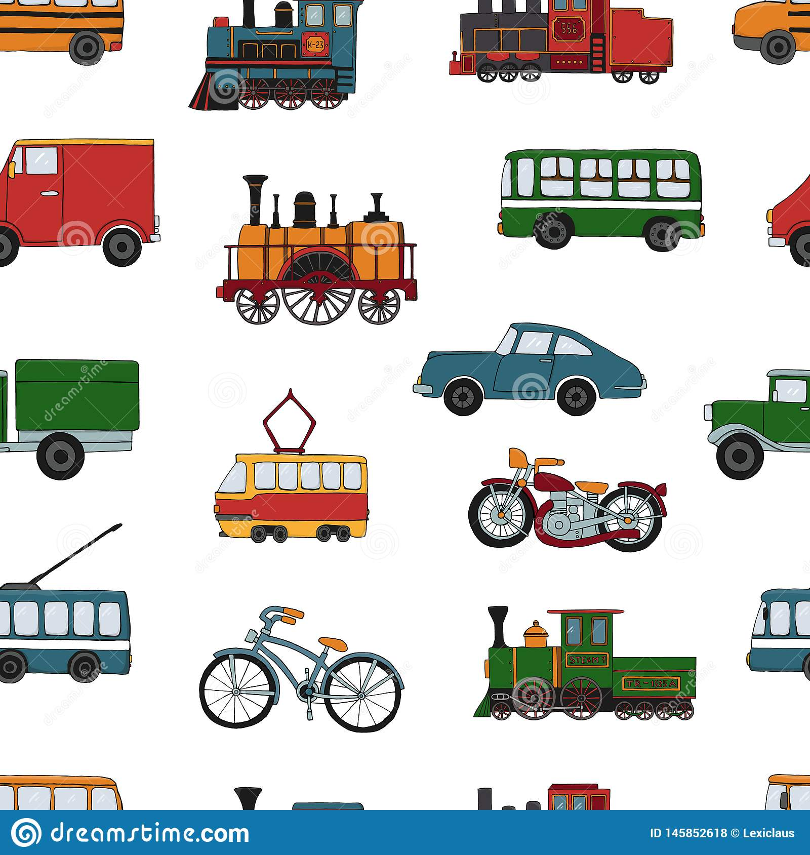 Vector colored seamless pattern of retro engines and transport