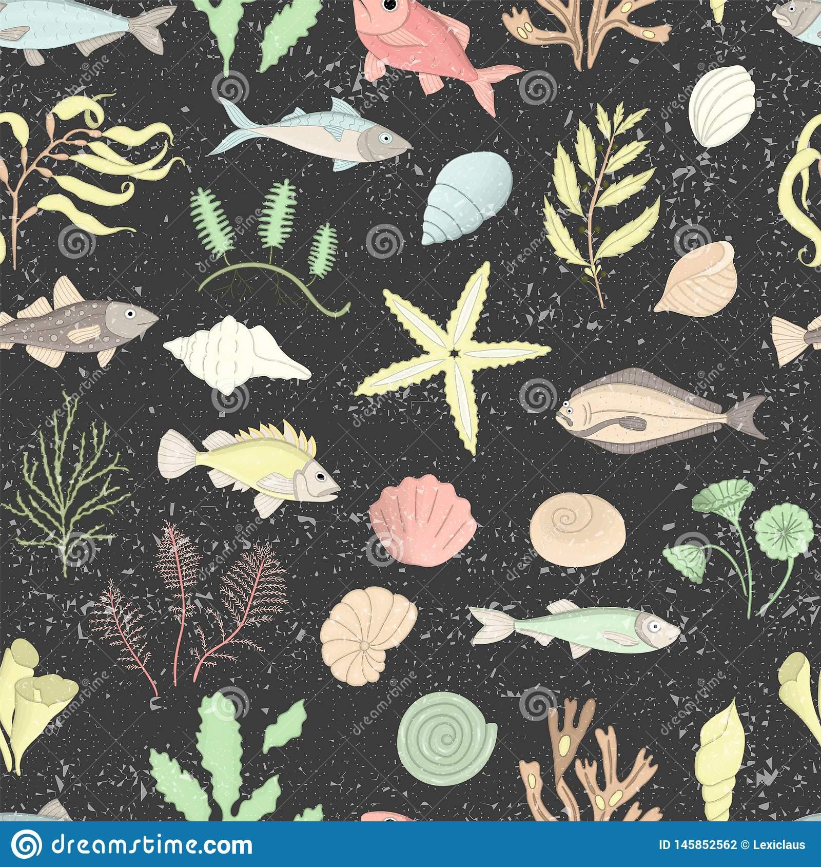 Vector colored seamless pattern of sea shells, fish, seaweeds isolated on black textured background